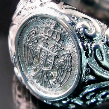 Muski prsten sa srpskim grbom