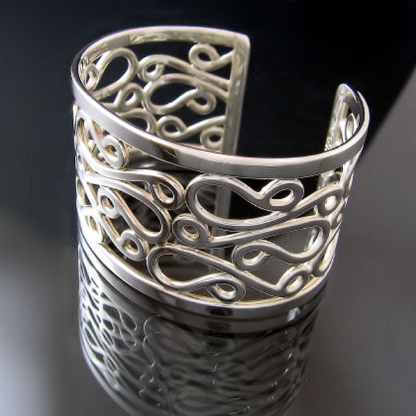 Elegant designer jewellery handcrafted dramatic wide cuff bracelet silver