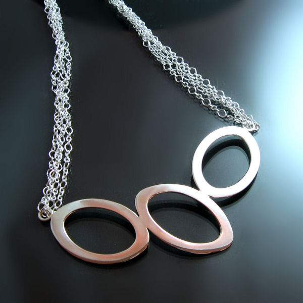 Handcrafted silver necklace in a contemporary design