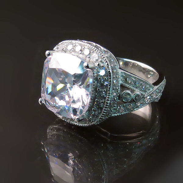 Imitation Diamond Cocktail Ring in Silver with CZ - Glitzy Jewellery
