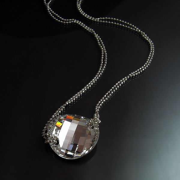 Silver Swarovski Crystal Necklace - Modern Glamour Jewellery
