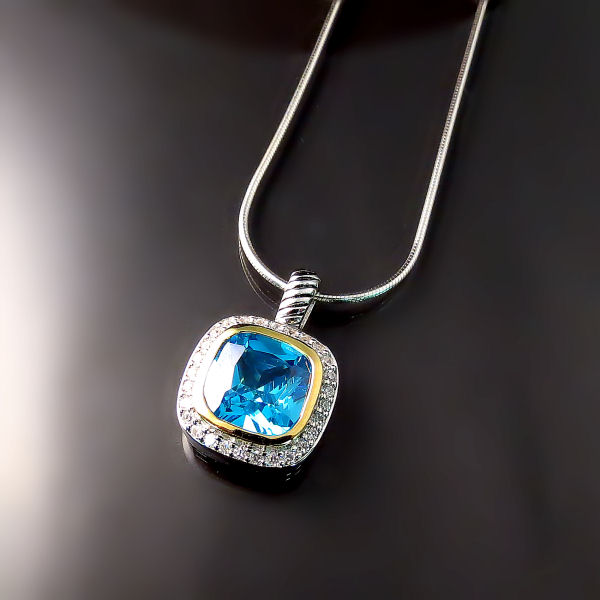 Blue CZ Pendant in Silver - Good Imitation Jewellery