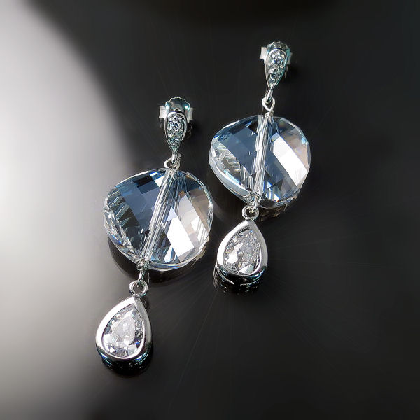 Elegant Swarovski Crystal Ice Earrings - Couture Designer Jewellery