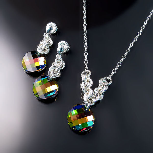 Colourful Swarovski Crystal Necklace & Earrings Set - Handmade Silver Jewellery