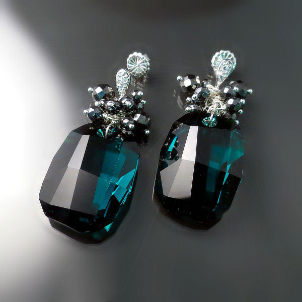 Emerald Green Swarovski Crystal Earrings - Dramatic Elegant Bold Jewellery