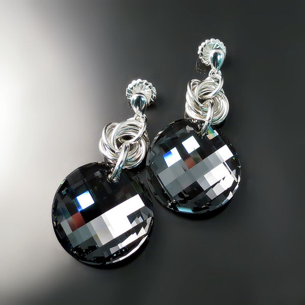 Dramatic Black Swarovski Crystal Party Earrings - Modern Glamour Jewellery