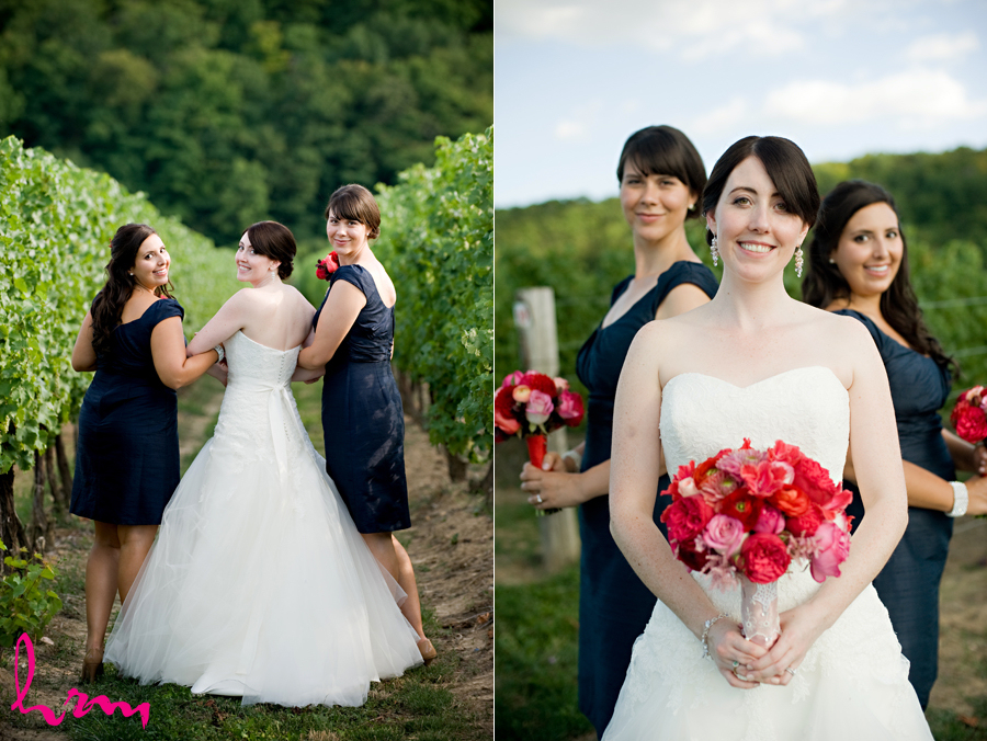 modern toronto bride and her bridesmaids in a red white and blue theme wedding