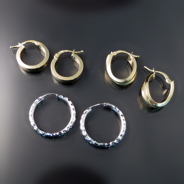 Gold jewellery and hoop earrings at Hamilton Burlington Jewellers Zoran Designs