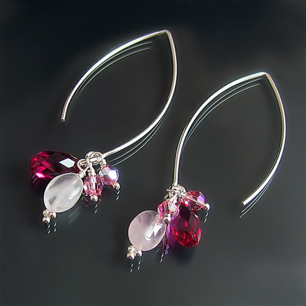 Pink Rose Fuchsia jewellery designs: custom dangle earrings handmade in sterling silver