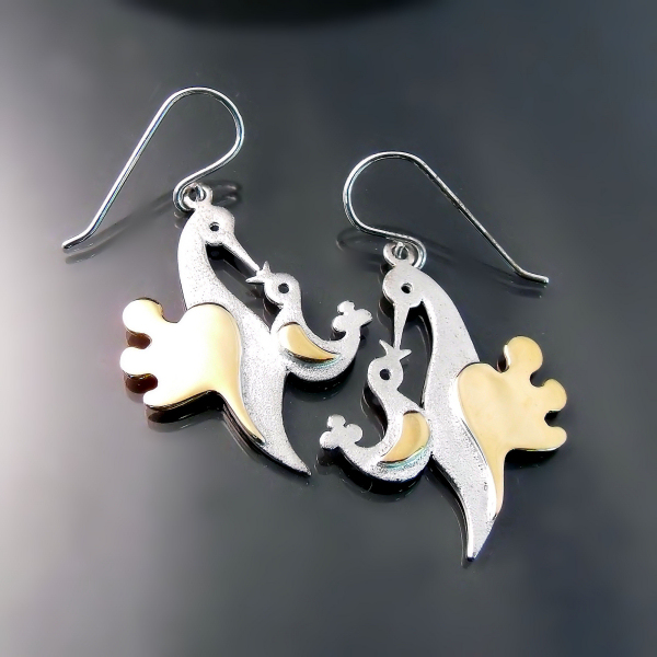 Mama and Baby Bird earrings handcrafted in sterling silver and gold. Unique designer and artisan jewellery by Zoran Designs.