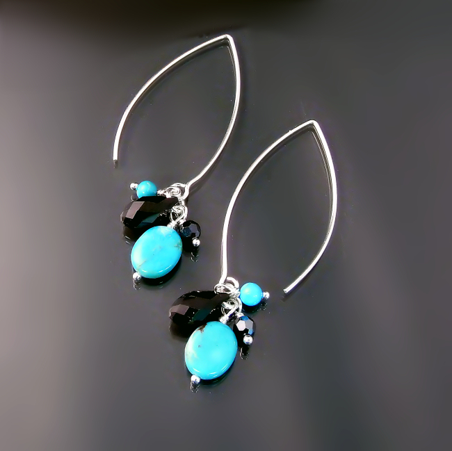 affordable turquoise jewelry dangly turquoise earrings with black crystals