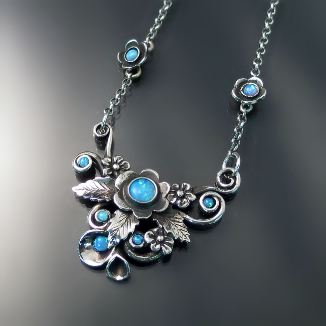 flower opal necklace silver nature inspired jewelry