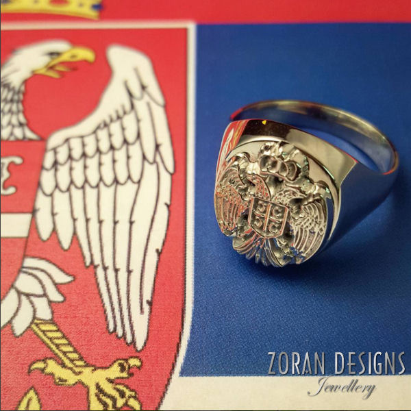 A beautiful men's ring featuring the Serbian eagle