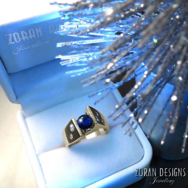Modern Jewellery Design: ring with blue sapphire and diamonds