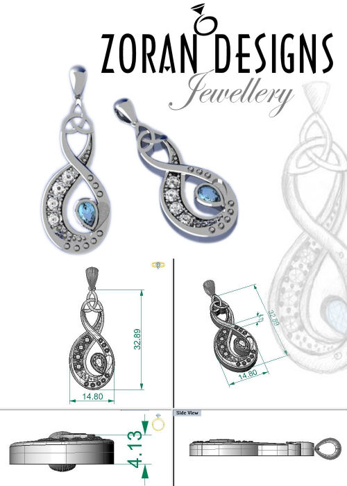 Sketches and renders for bespoke Infinity symbol pendant in white gold