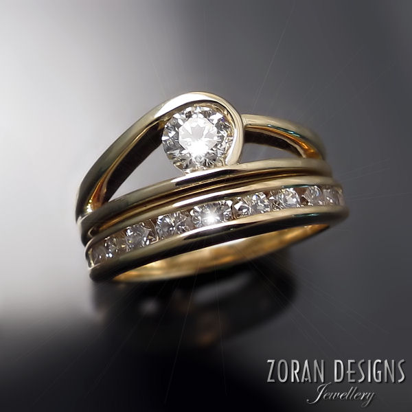 Custom made contemporary diamond engagement ring