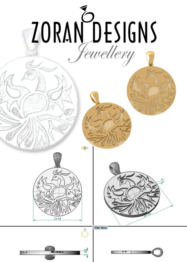 Designer sketch and renders for custom made pendant