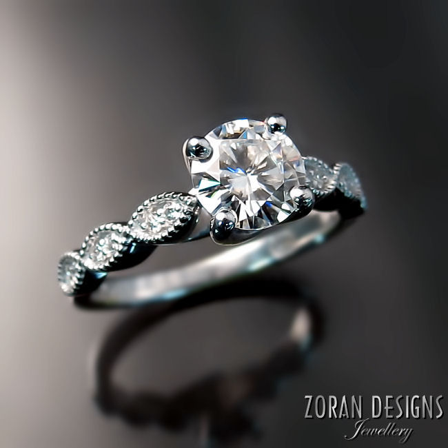 Custom made platinum engagement ring