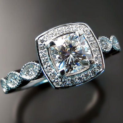 Custom engagement ring with vintage flare