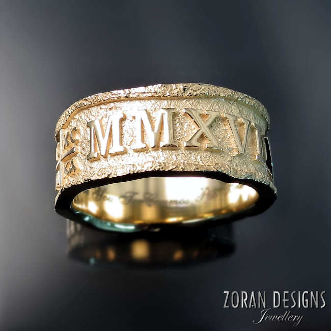 Unique men's wedding ring with old world inspired aged, rustic look