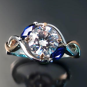 Custom engagement ring: vine design