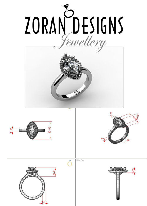 Custom engagement ring: design for marquise diamond with halo