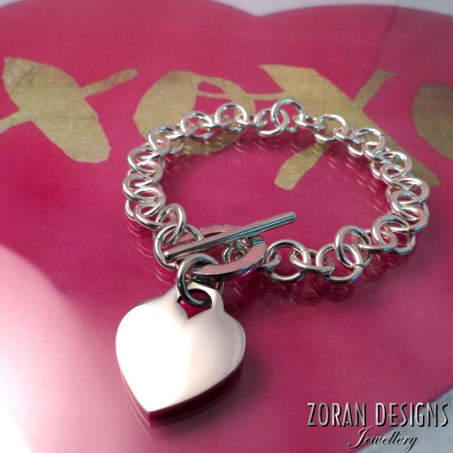 Tiffany style silver heart bracelet