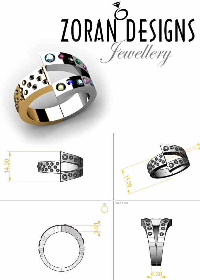 Custom design for modern family ring