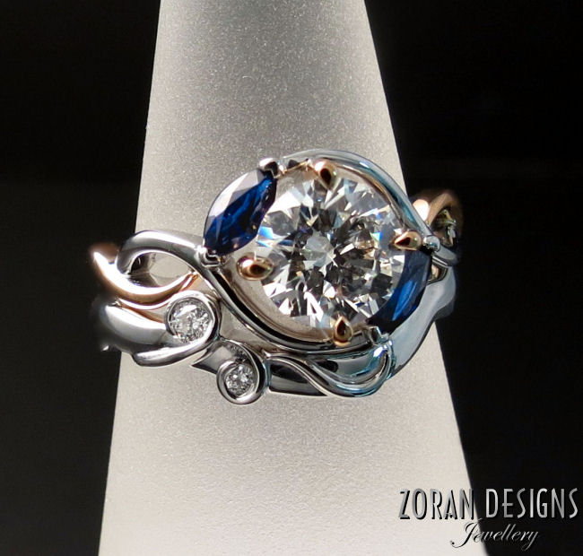 Unique, custom designed engagement ring and wedding band