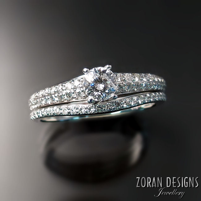 Pave diamond wedding rings