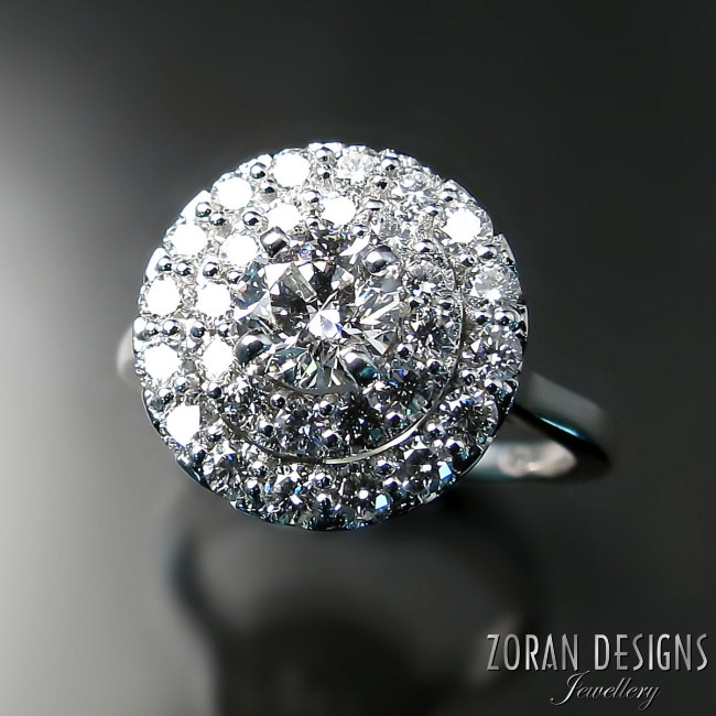 Diamond engagement ring - custom made double halo design