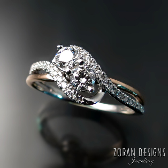 Two stone diamond engagement ring - unique, delicate and distinctive design