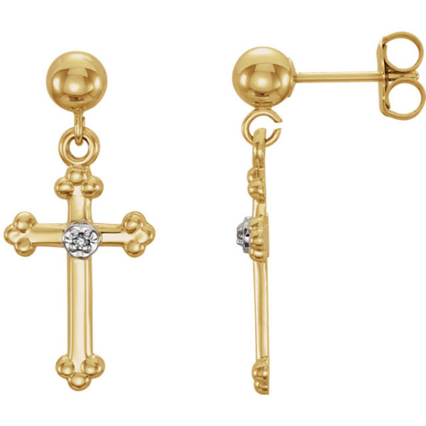 Diamond Orthodox Cross Earrings