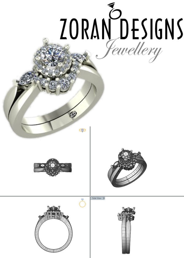 Custom design for tight contour diamond wedding band