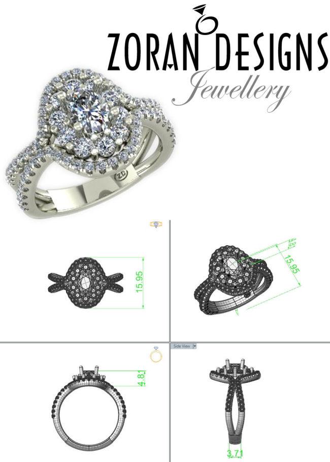 Engagement ring custom design - Toronto area jeweler Zoran Designs