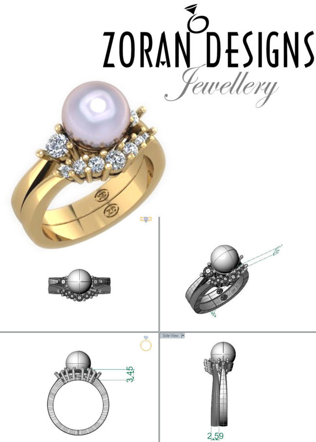 Custom jewellery: technical drawings and rendering