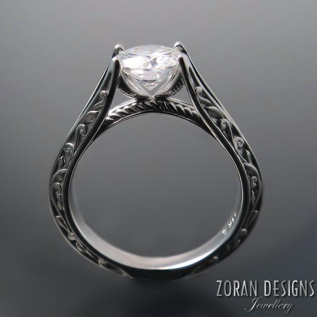 Unique, split shank engagement ring with elegant vine details