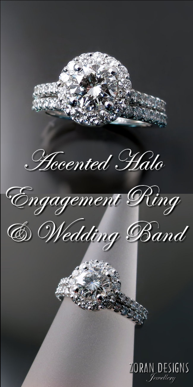 Custom made wedding rings designed around client's original diamond