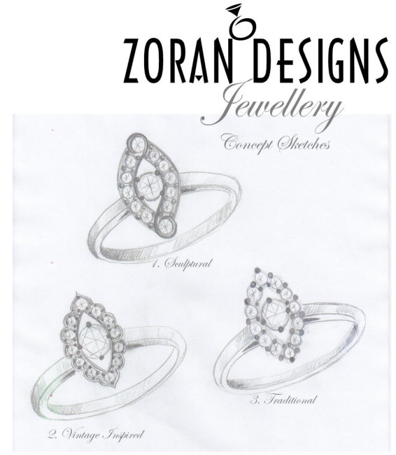 Custom engagement ring concept sketches