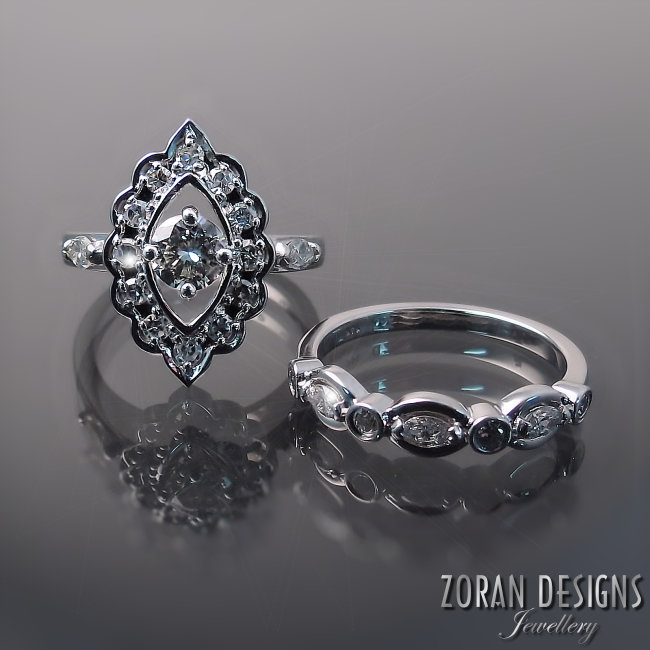 "Wyeth Paterson: - ""I found Zoran designs and after meeting Maja, I knew she was the right person to design my engagement and wedding rings. I was having family rings redesigned, which was really important to me and she listened to my wants and designed the most beautiful rings imaginable. I am thrilled with the final product and do not hesitate to recommend her work to anyone! Thank you Maja!"""