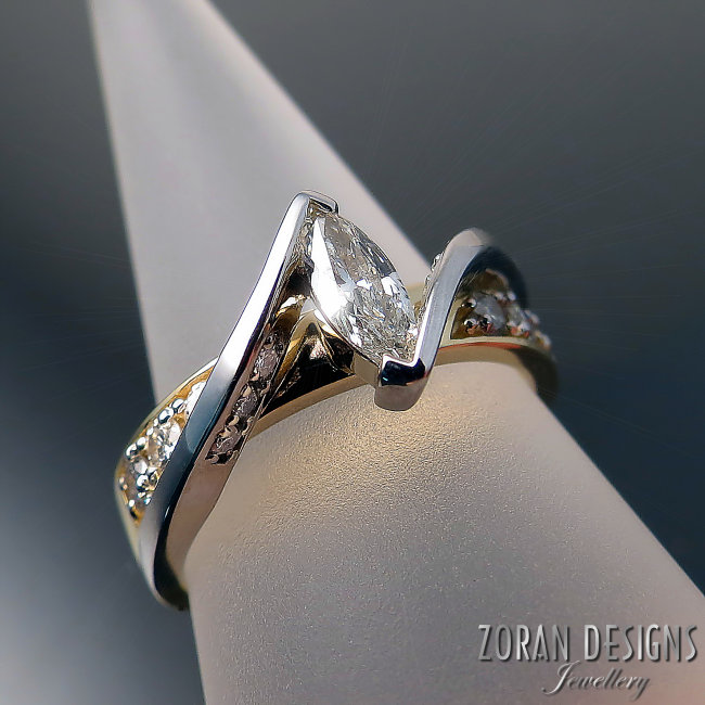 unique two tone gold ring custom made with clients old diamonds repurposed.jpg