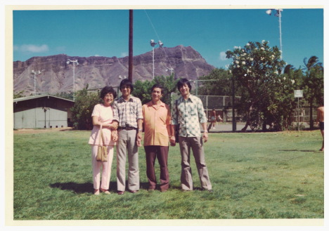 Auntie, Uncle Sam, Uncle and Dad at Kapiolani Park circa 1975.