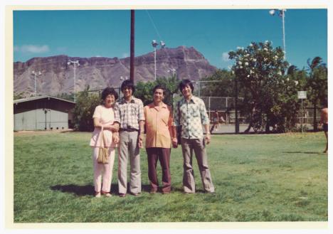 Auntie, Uncle Sam, Uncle and Dad at Kapiolani Park circa 1975.