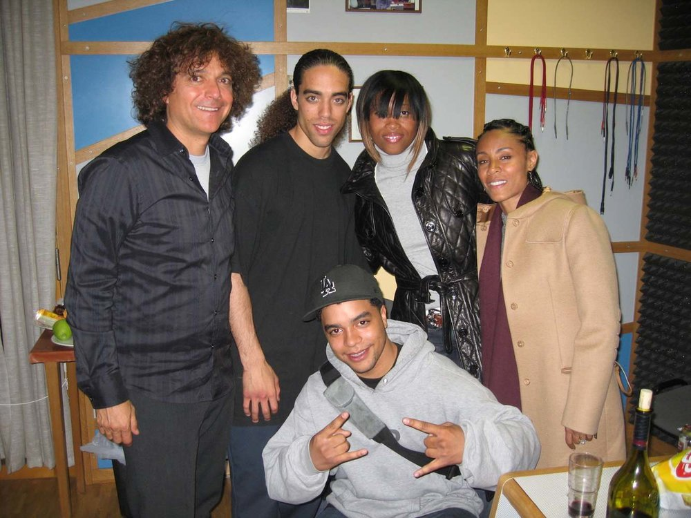 """Left to right,  Anthony Marinelli, Cameron Graves, Taylor Graves, Fawn Boardley and Jada Pinkett Smith recording orchestral score to """"The Human Contract"""" at Smecky Hall, Prague, Czech Republic, 2008"""