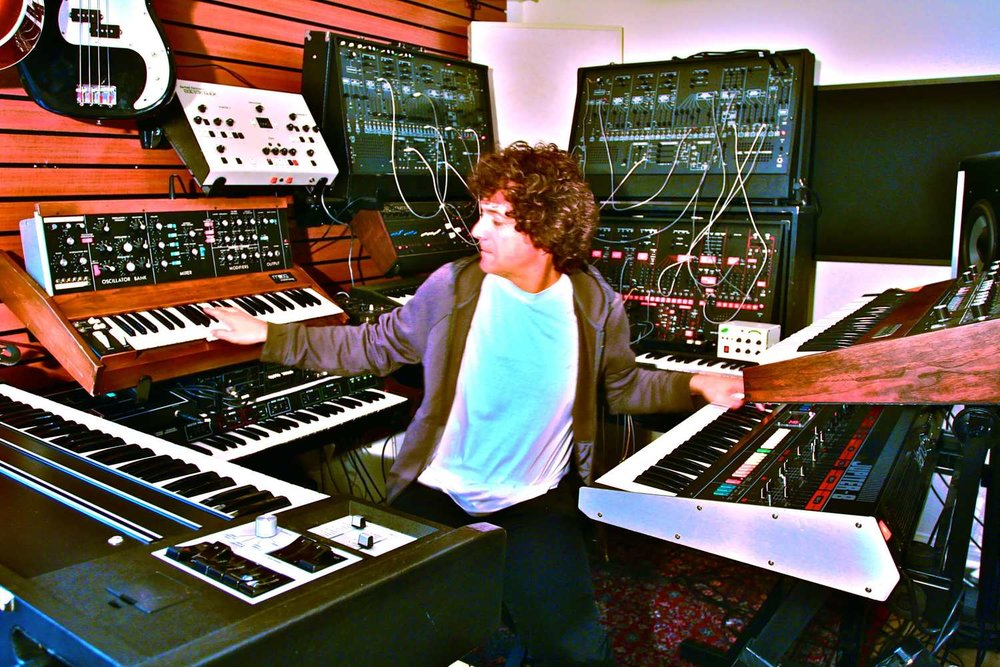 Anthony Marinelli performing on some of his vintage analog synthesizers, Encino CA, 2015