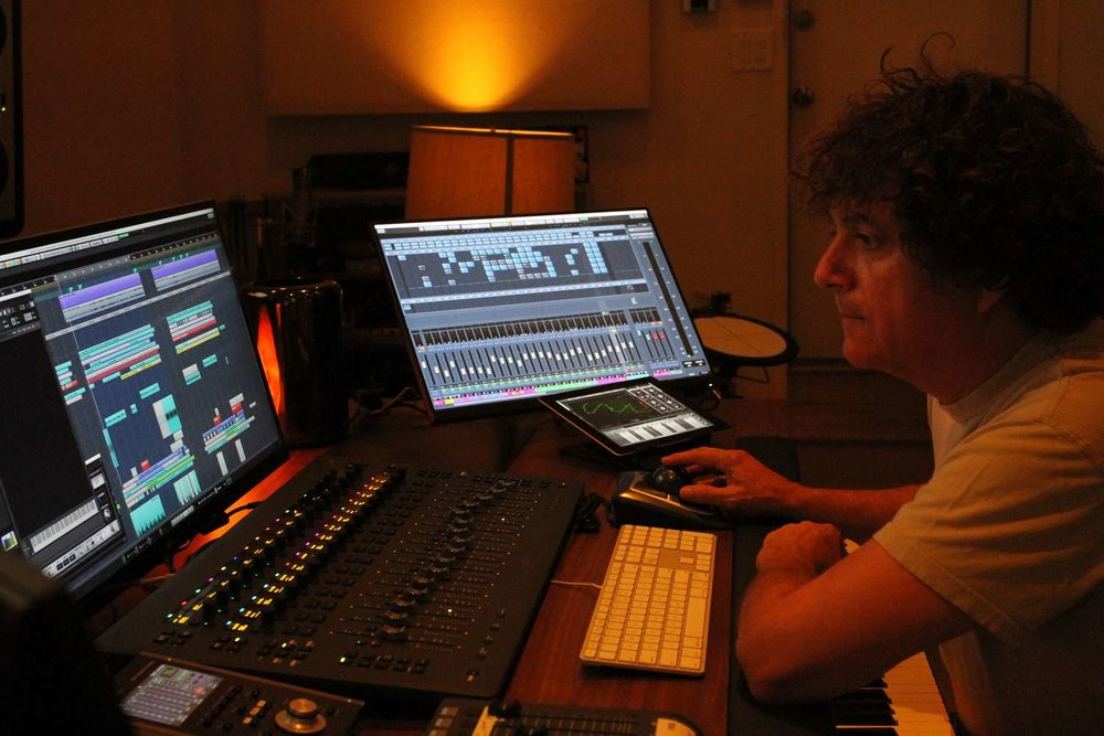 Anthony Marinelli composing music for Ubisoft's hit video game franchise Far Cry 5: Lost on Mars in his studio, Encino, CA, 2018