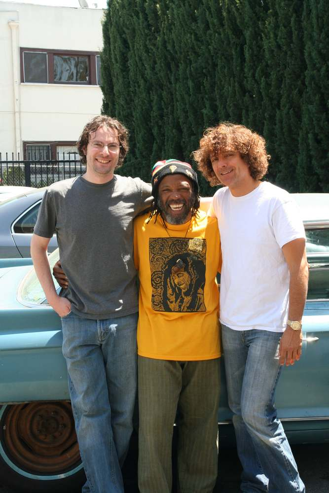 """Clint Bennett, Leon Mobley and Anthony Marinelli after working on the Dirty Dozen Brass Band album """"What's Going On"""" in the alley behind Anthony's studio, Hollywood, CA, 2006"""