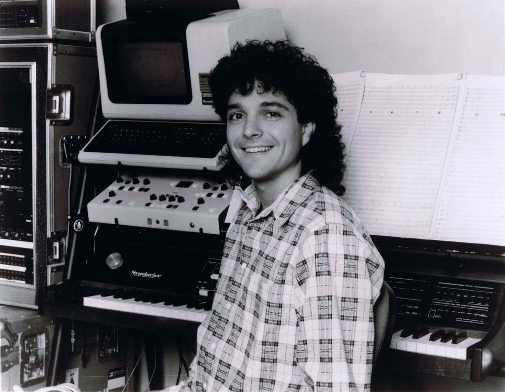 """Anthony Marinelli with his Synclavier Digital Music System and rack mounted synthesizers used on Michael Jackson's mega-hit album """"Thriller"""", Hollywood, CA  1985"""