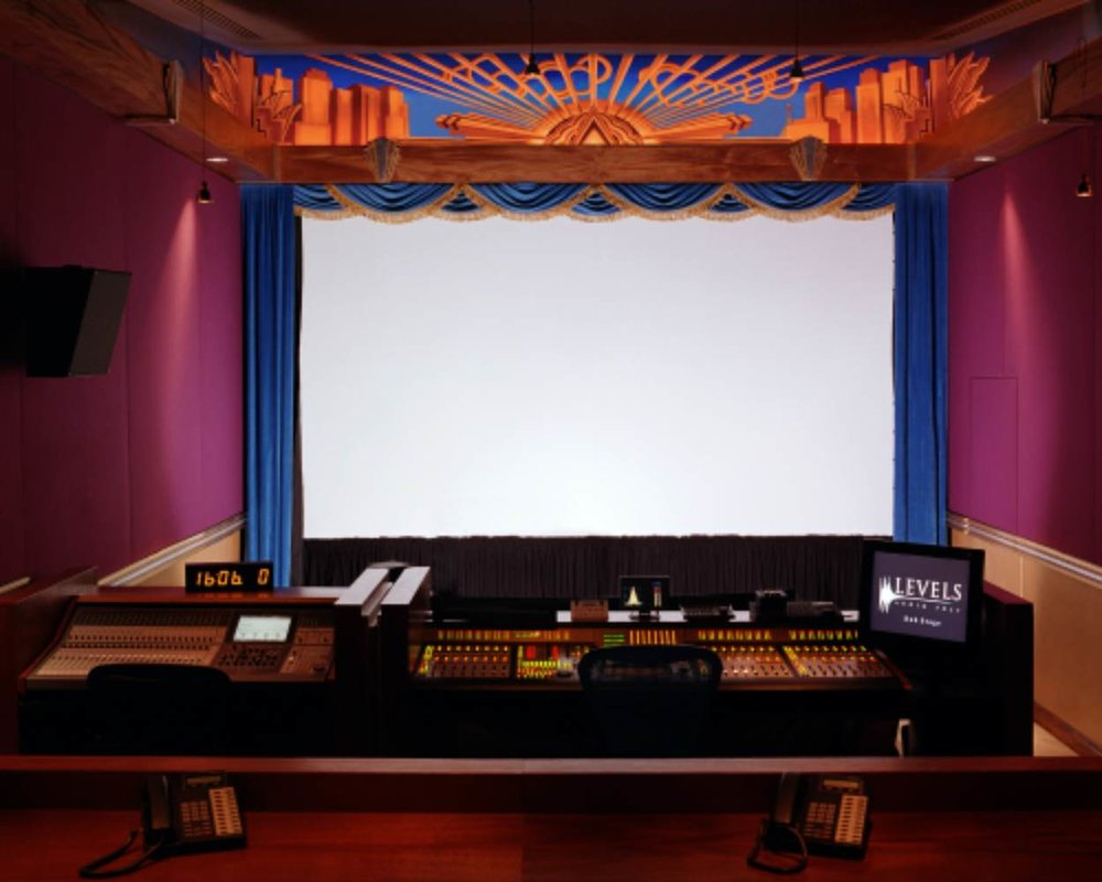 Levels Audio Post art deco mixing theatre,  home of American Idle and The Batchelor TV shows, Co-founded by Anthony Marinelli and Brian Riordan, Hollywood, CA, 2000