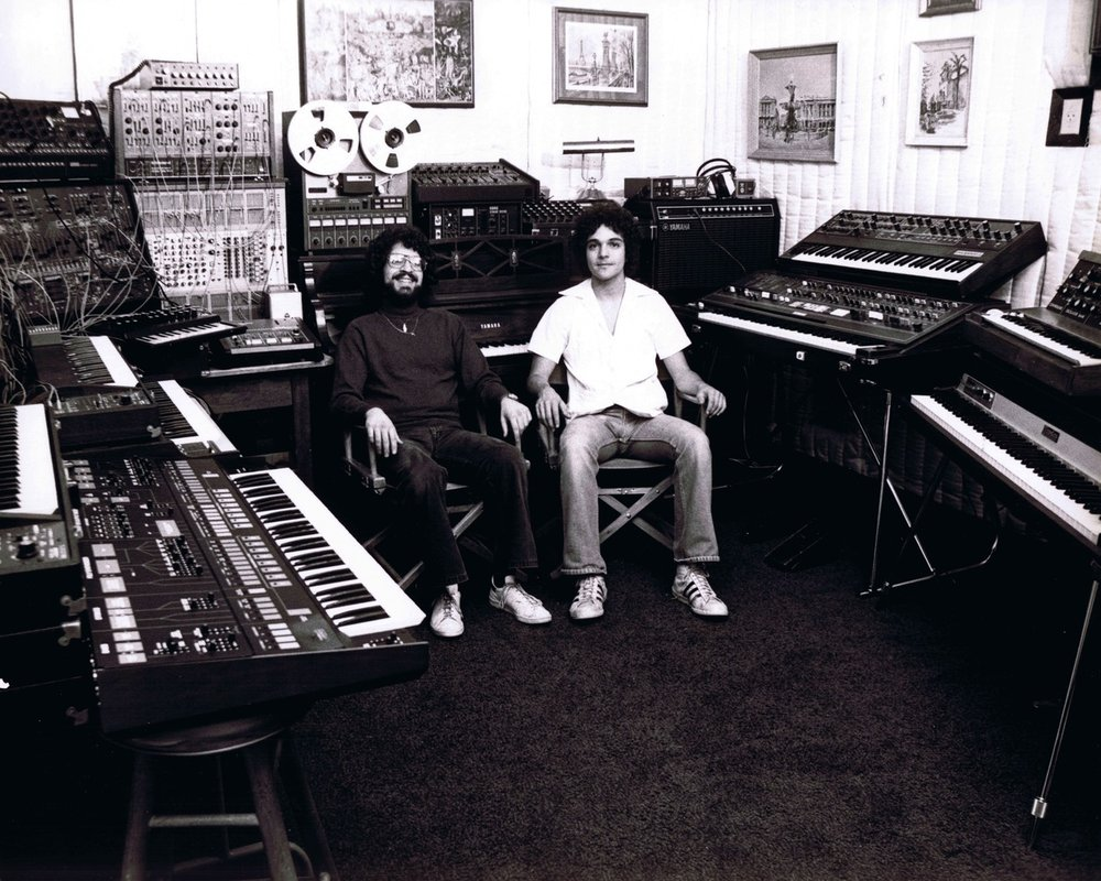 left to right, Brian Banks and Anthony Marinelli in Anthony's synthesizer recording studio in North Hollywood, CA, 1978